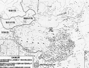 图3:元代版图与疆域;图3反映了元朝时期中国的空前辽阔的疆域.-